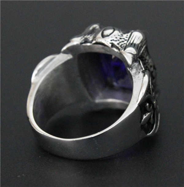 เย็นขัดสีม่วงคริสตัลหินแหวนสแตนเลส316Lด้านคุณภาพBikerบุรุษแผ้วAnchorแหวน