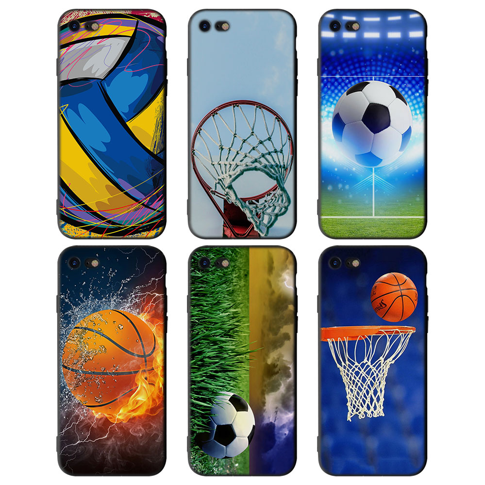 soccer ball basketball volleyball Soft Silicone Black Cellphone Cases for Apple iPhone X 7 8 Plus 6Plus 5 5S SE 6 6s