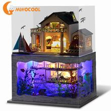 Hawaii Style Double-Story DIY Doll House New Furniture Wooden Miniature Doll Houses With Dust-proof Cover Handmade Craft Toys