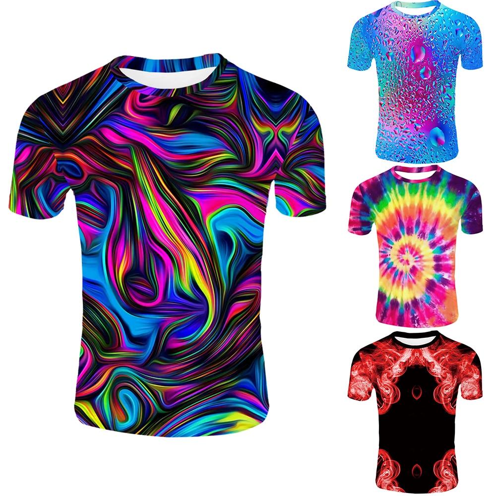 Novidade Colorido Arte Verão 2019 Homens Moda Streetwear 3d Tshirts gráficos Graphic Tees Compressão Personalizado 3d Impressão Da Camisa de T