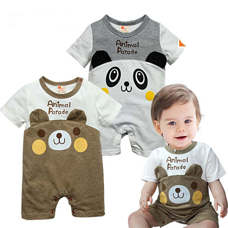 hot Baby boys girls summer Romper grils clothes children clothing cartoon panda High Quality