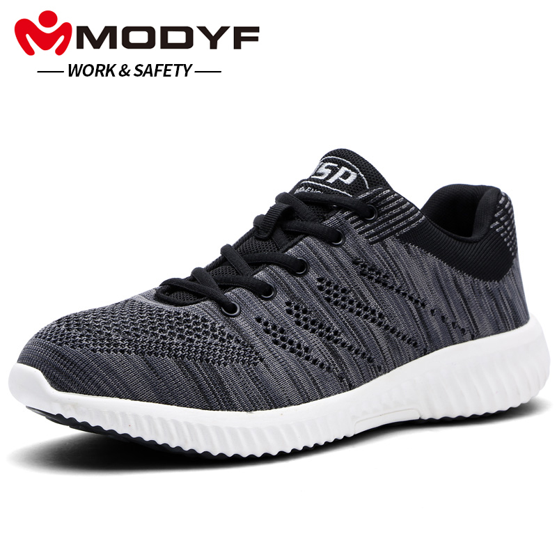 MODYF Men's Safety Shoes Steel Toe Cap Work Boots Anti-Smash Puncture-proof Protection Footwear free shipping men steel toe cap work safety shoes reflective casual breathable hiking boots puncture proof protection footwear