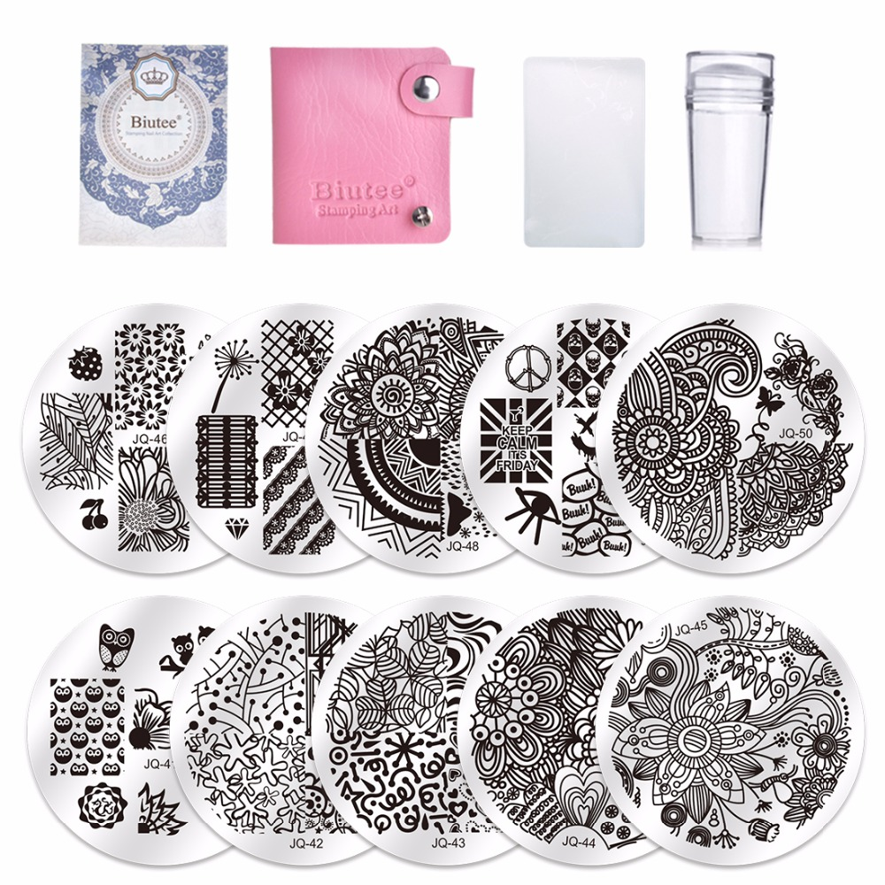 10Pcs Nail Stamping Plates Polish Stencils For Nails 1Pc Rose Red Template Case Clear Scraper Stamper Nail Art Set Kits