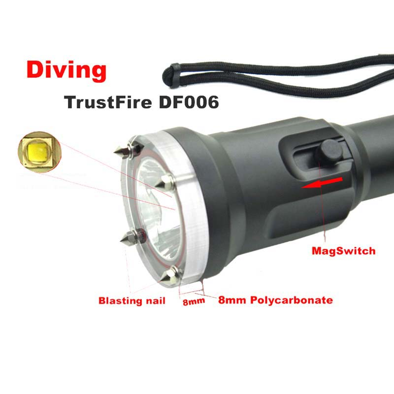 Diving TrustFire DF006 XM-L2 Waterproof led light Magnetron Switch Underwater torch flashlight (by 18650 battery) DF-006 waterproof df007 diving flashlight xml 2 magnetron switch underwater led light without battery