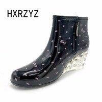 Women S Short Rainboots High Heel Plus Cotton Disassembly Water Shoes Slip Resistant Wedges Shoes Plus