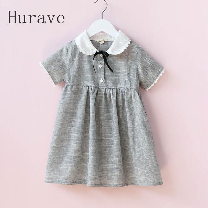Hurave 2017 New Kids Clothes Girl Gary Vestidos Casual Dress Designer Button With Bow Children Clothing