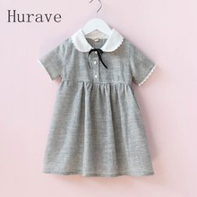 Hurave 2017 New Kids Clothes Girl Gary Vestidos Casual Dress Designer Button With Bow Children Clothing Princess Summer Dresses