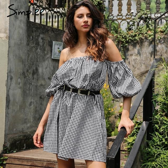 Simplee Off shoulder plaid summer dress women Lantern sleeve loose streetwear mini dress 2017 summer new casual robe femme