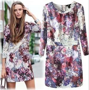 2013 New Arrival Brand Women's Long Sleeve Vintage Silk Print Dress