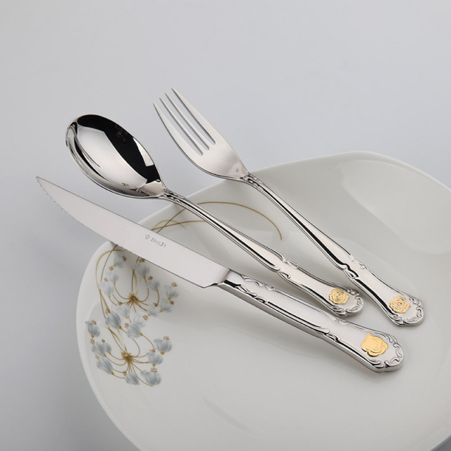 Cutlery Steel Set Metal Flatware Sets 24 Pcs Restaurant Golden Kitchen Wedding Dinner Beautiful Dinnerware Tableware Dinner Set