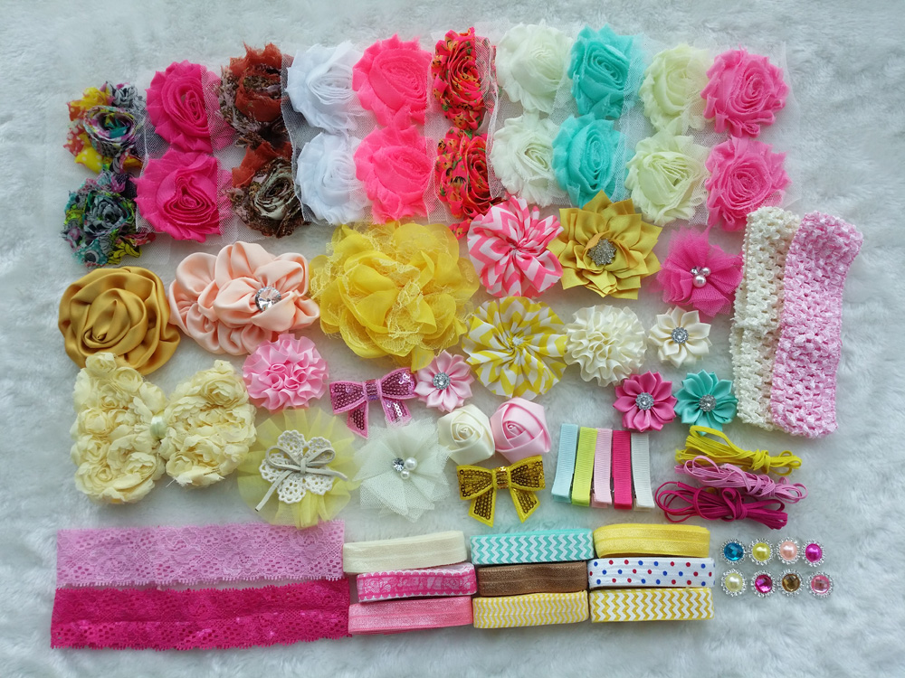 Deluxe DIY accessories kits set , Shower Headband, shabby flowers Rose hair bow Trim ,Birthday /christmas day gift  I цена и фото