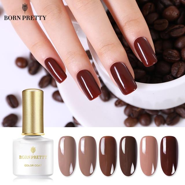 נולד די קפה סדרת טהור צבע ציפורניים ג 'ל פולני 6 ml עירום ורוד קרמל קפה לספוג את UV לכה לכה