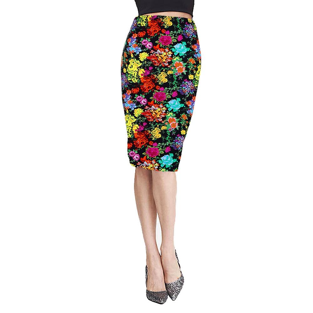 2016 fashion vintage printed pencil skirt midi knee