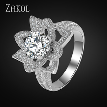 ZAKOL Luxury Design Flower Inlaid Cubic Zircon Elegant Wedding Rings For Women Exquisite Bridal Engagement Finger Ring FSRP003