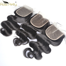 цена на Lace Closure Pre Plucked Remy Human Hair closure Peruvian body wave Ross Pretty Brand Swiss Lace 4x4 Middle part and Free/3Part