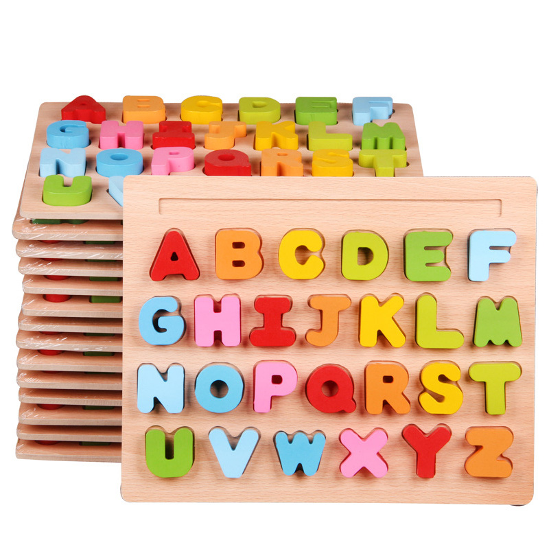 30cm Kid Early Educational Baby Hand Toys Grasp Wooden Puzzle Toys Alphabet Digit Learning Education Child Wood Toy