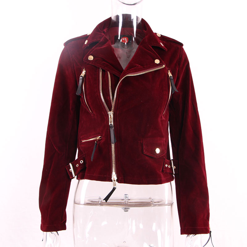 ShowMi Autumn Spring Jacket Women 2017 Elegant Female Long Sleeve Pocket Zipper Ladies Short Black Wine Red Velvet Jacket