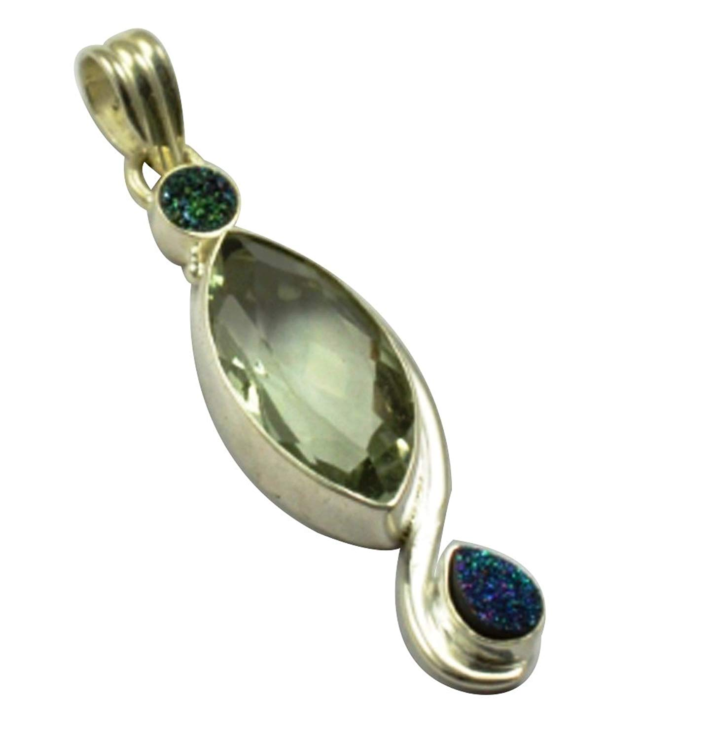 Lovegem Nature Green Amethyst & Druzy Pendant 925 Sterling Silver, 52.7 mm, MHBAP4908