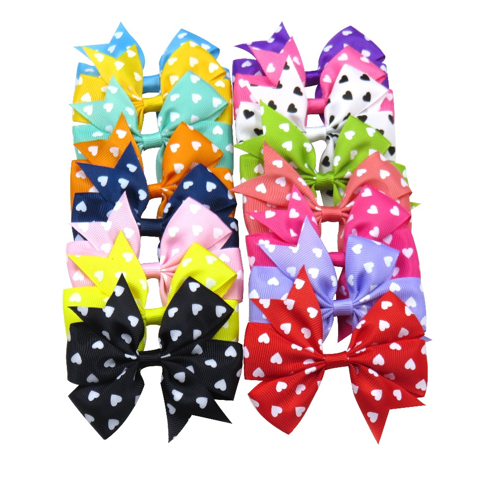 1PCS Novelty Lovely Dots Elastic Hair Bands Girls Ribbon Clip Bows Girl Hair Tie Knot Hairpin Handmade Fashion Hair Accessories