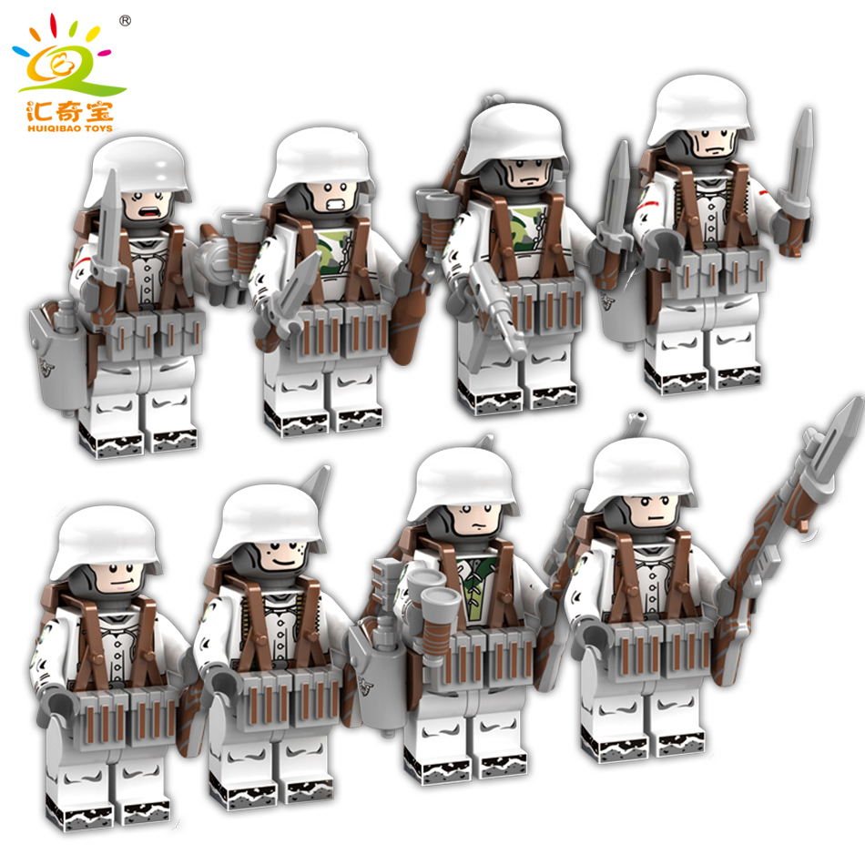 8pcs/lot Military ww2 Figures Soldiers Weapons Building Blocks Compatible Legoed Army Enlighten City Bricks Toys For Children enlighten 1406 8 in 1 combat zones military army cars aircraft carrier weapon building blocks toys for children