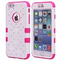 Luxury Bling Starry Diamond Rhinestone Full Body Rubber PC + Silicone Hybrid Cover Case For iPhone 6 6S 7 Plus 5S 5 SE 5C 4S 4