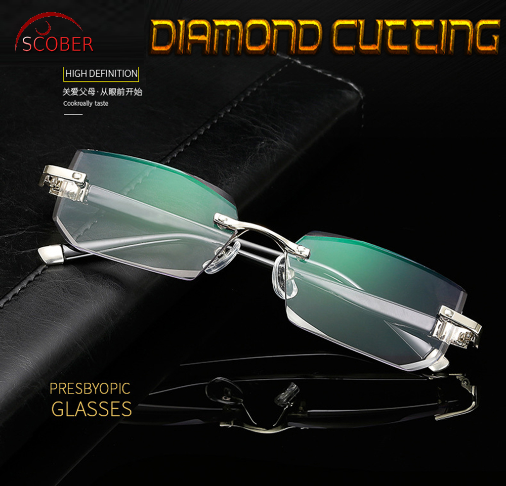 = SCOBER = Noble Elegant Diamond Cutting Gray lenses <font><b>Men</b></font> Women Rimless <font><b>Reading</b></font> <font><b>Glasses</b></font> +0.75 +1 +1.25 +1.5 +1.75 +2 +<font><b>2.25</b></font> to +4 image