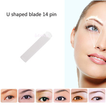 10PCS 14 Pin U Sharp Permanent Makeup Eyebrow Tatoo Blade Microblading Needles For 3D Embroidery Manual Tattoo Pen Machine