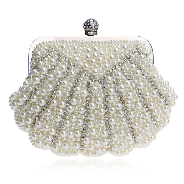 Shell Shaped Handmade Luxurious Wedding Handbags Beaded  Rhinestones  Purse Evening Bags Diamonds Clutches Bag