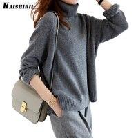 2018 Turtleneck Autumn Winter Knitted Sweater Women Long Sleeve Pullover Women Female Soft Loose Wool Sweaters Casual Jumper