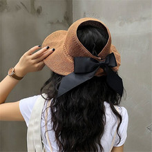 INS Fashion Straw Sun Hat Foldable Empty Top Hats Women Summer Travel Sunscreen Hats Wide Brim Beach Caps With Bowknot chic bowknot band irregular brim outdoor sunscreen straw hat for women