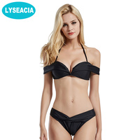 LYSEACIA Black Bikini Set Beach Off Shoulder Swimsuit Bikinis Women Swimming Suit Push Up Top V