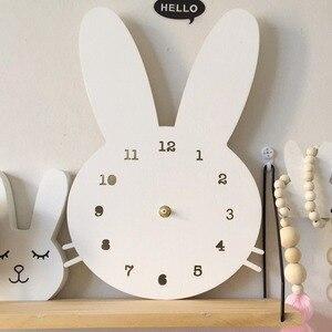 Image 3 - Decoración de habitación nórdica para niños, reloj de conejo, decoración de pared para sala de colgar, estilo escandinavo, decoración para niños, decoración nórdica para guardería