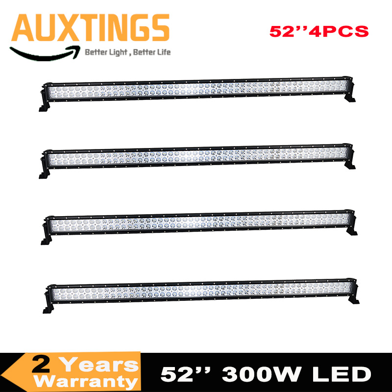 4 pieces dual rows combo beam 4x4 truck tractor car straight 52 Inch 300W led light