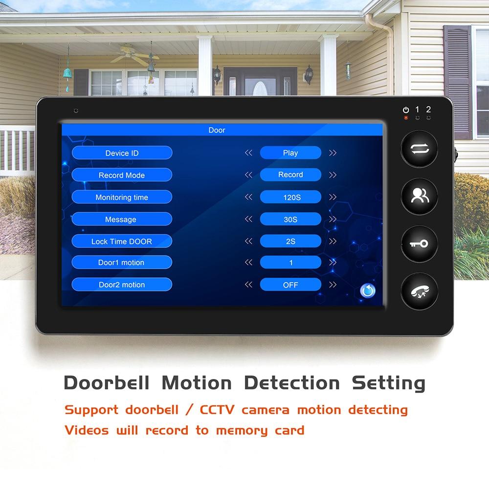 Intercomunicador Puerta de vídeo con cable teléfono con registro de detección de movimiento para casa HD IR Video timbre cámara de soporte CCTV y desbloqueo - 4