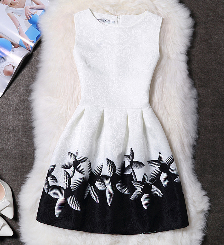 2XL New Brand Spring Summer Plus Size Women Print Floral Vest Dress Sleeveless A Line Party Fashion Dresses Vestido De Festa Hot 4