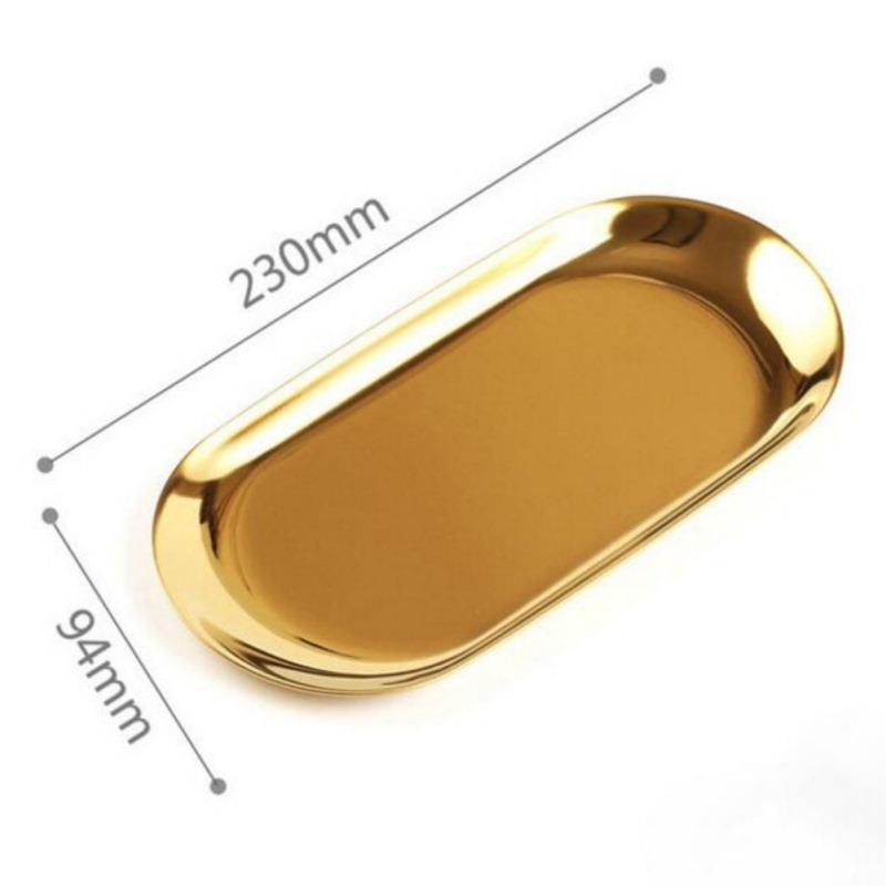 Image 5 - New 2019 Colorful Metal Storage Tray Gold Oval Dotted Fruit Plate Small Items Jewelry Display Tray Mirror-in Storage Trays from Home & Garden