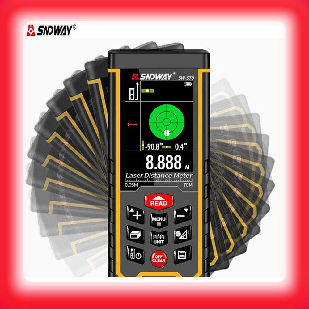SNDWAY 2.4 inch color display Digital Laser range finder 50M 70M 100M metro laser Electronic Tape Measure laser distance meter portable d100 100m electronic digital laser power tape measure