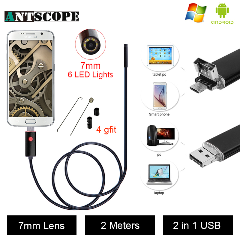 Antscope USB Android Endoscope Caméra D'inspection 2 M Android Endoscope 7 MM Objectif 6 led PC USB Endoskop Caméra