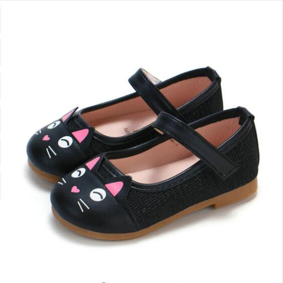 Children Shoes Girls Shoes Autumn Lovely Cats Princess Flat Fashion PU Leather Toddler Kids Shoes For Girl Baby Sneakers