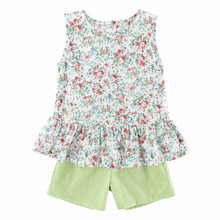 Одежда для девочек Лето г., детский жилет с короткими рукавами и цветочным принтом детские шорты хлопковый костюм из двух предметов детская одежда