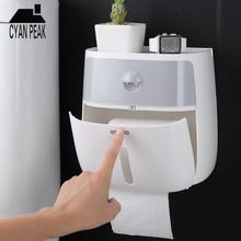 Ванная комната Водонепроницаемый склад-хралилище подставленное к стене коробка Пластик ванная и туалет Бумага Держатель двойной Слои коробка для салфеток диспенсер Бумага стойки инструменты