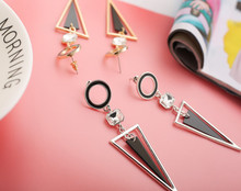 Simple triangle creative fashion earrings S925 silver needle personality geometry Earrings exaggerated
