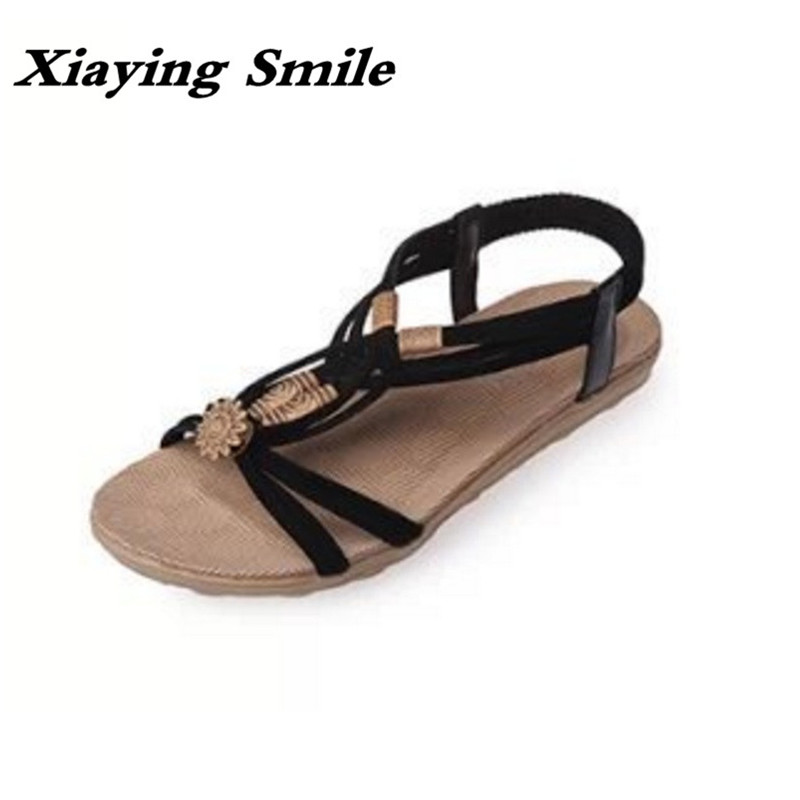 Xiaying Smile New Summer Women Sandals Casual Fashion Shoes Bohemian Style Flats Ladies Hollow String Bead Flora Slip On Shoes