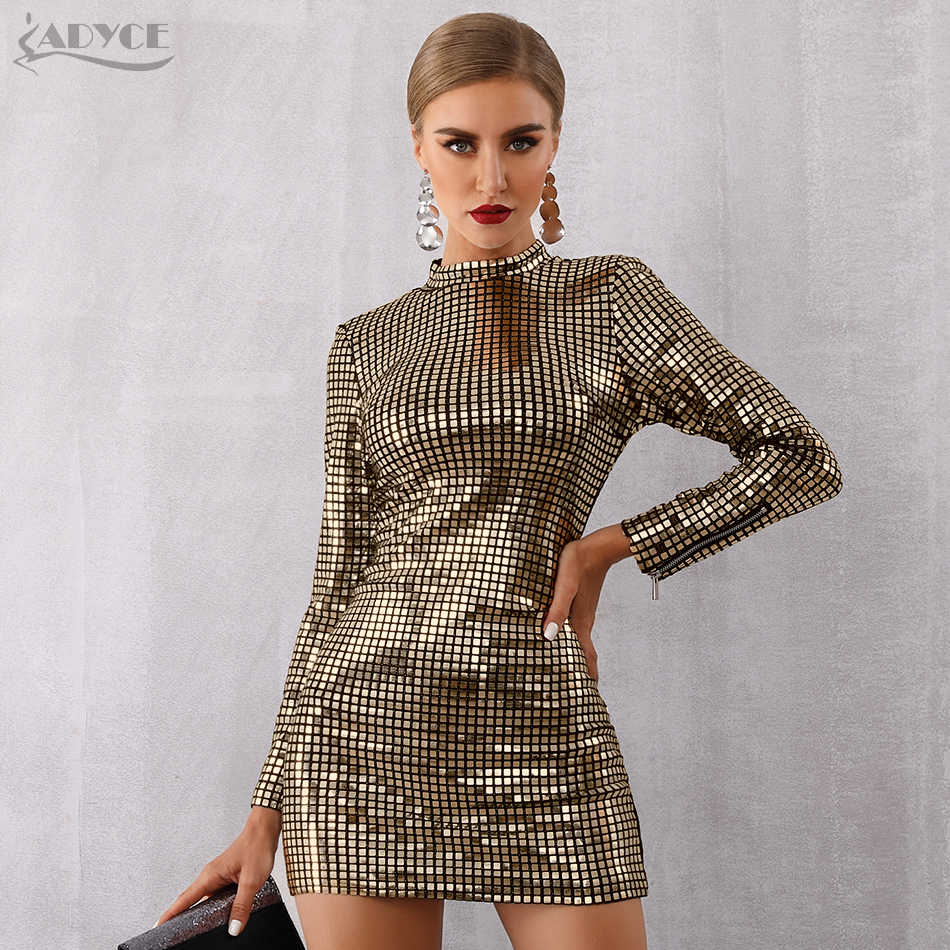5499da13a4103 Adyce 2019 New Arrival Women Spring Celebrity Runway Party Dress Silver  Color Long Sleeve Sequin Mini Luxury Club Dress Vestidos