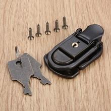 1Pc 58*34mm Toggle Latch Iron Based Purse Key Lock Antique Box Locks Bronze Tone