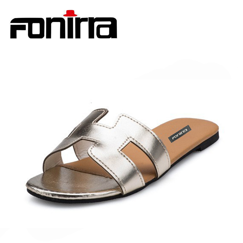 FONIRRA Summer Outside Slippers Women Fashion Concise Non-slip Golden Sliver Women Slides Cotton Fabric H Flats Shoes Women 909