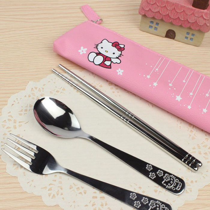 Модная Посуда Столовые приборы посуда мультфильм hello kitty или подарки из нержавеющей стали столовые приборы