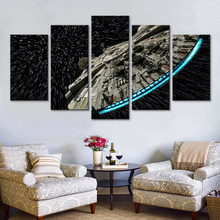 Modern Wall Art Pictures Home Decor Posters 5 Panel Star Wars Destroyer Millennium Falcon Living Room HD Printed Painting Frame(China)