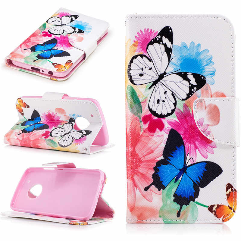 Painted PU Leather Cass For Motorola Moto G5 Plus Cover Flip wallet Card Holster Feather Butterfly Deer Designer Phone Bags Case