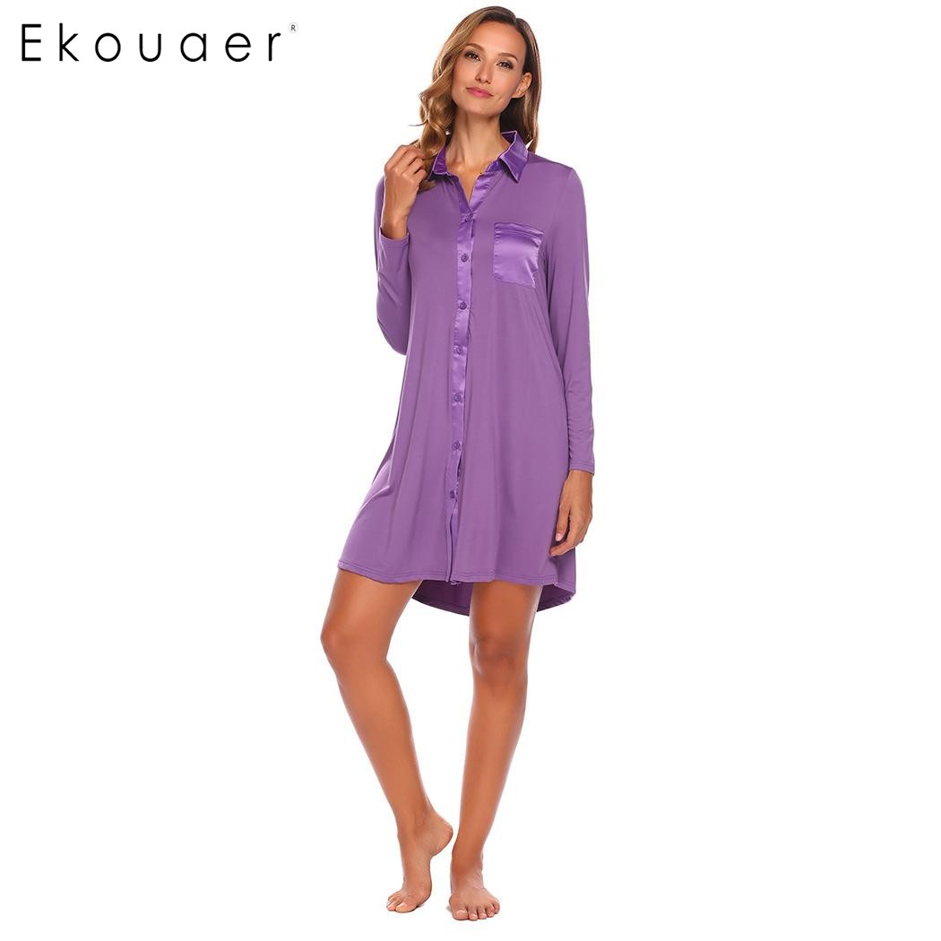 Ekouaer Casual Sleepwear Women Turn-down Neck Patchwork Nightgown Long Sleeve Front Button Up Nightwear With Bust Pocket